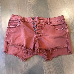 Free People Rust Runaway Slouch Cutoffs